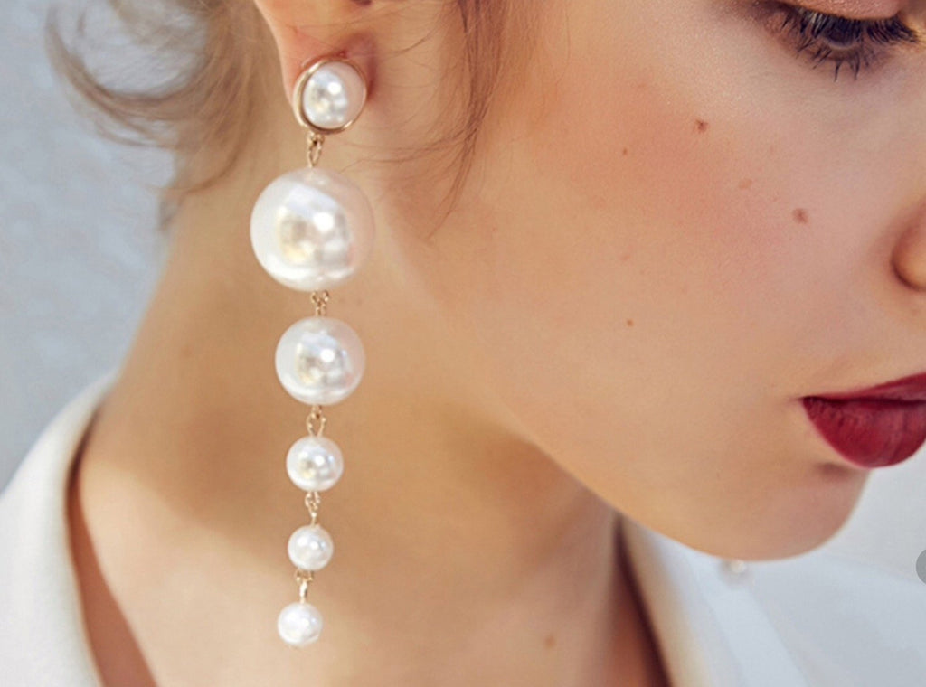 Pearl Long Statement Earrings