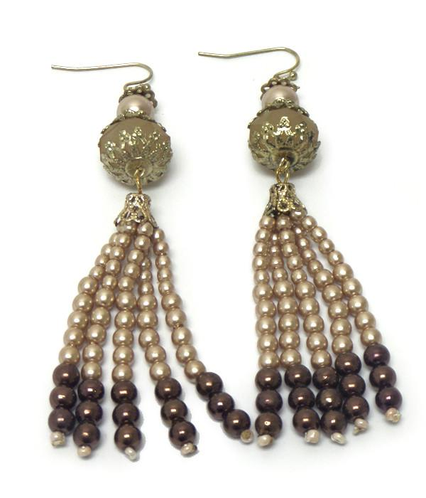 Beaded Tassell Dangle Earrings