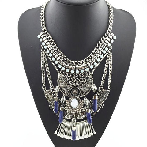Silver tone Boho Tribal Statement Necklace