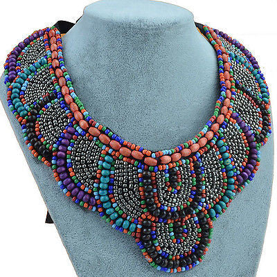 Multicolor Blue Beaded Statement Necklace