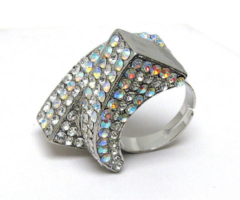Crystal Smile Face Open Ring