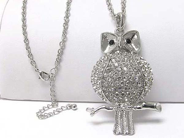 Long Crystal Owl Necklace