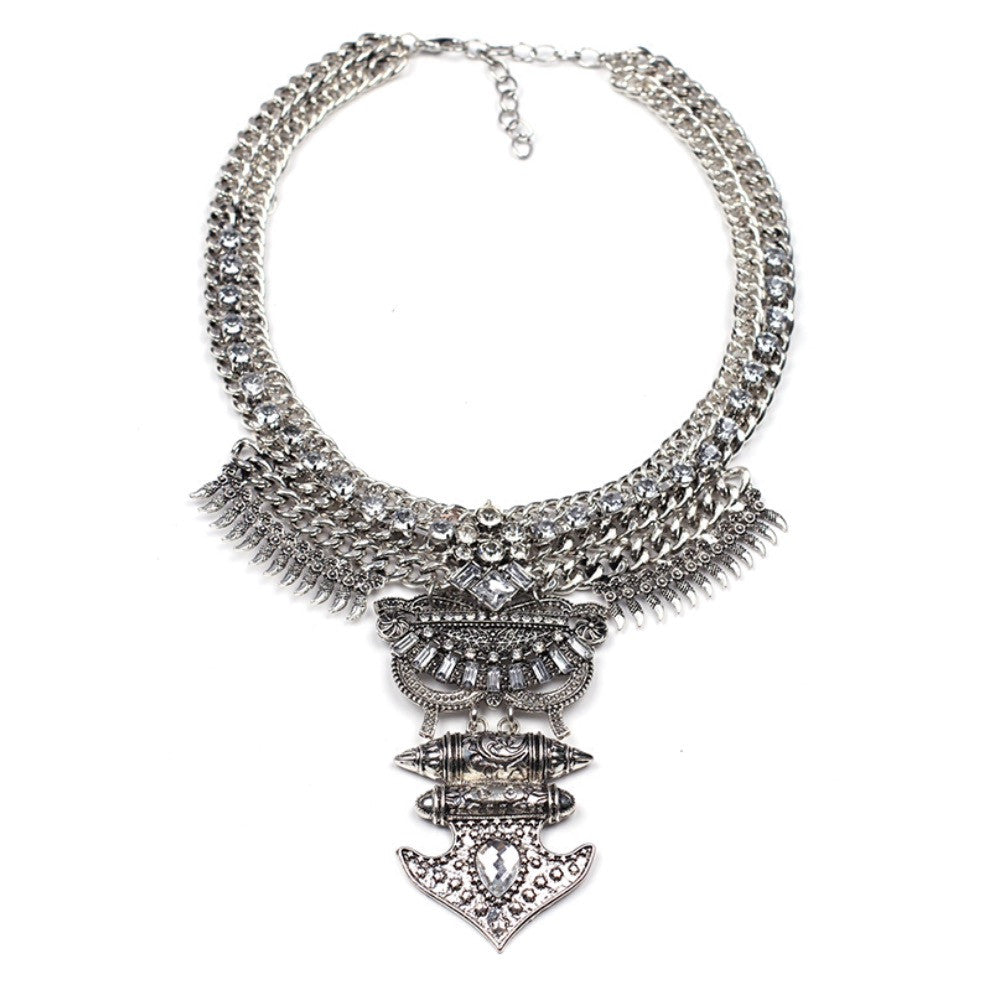 Silver Tone Tribal Statement Necklace