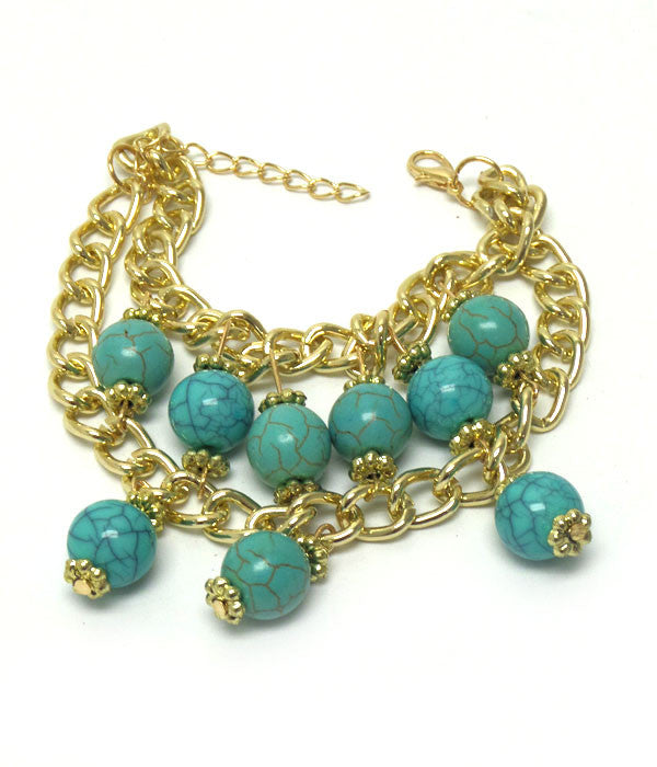 Two Layer Turquoise Stone Accent Bracelet