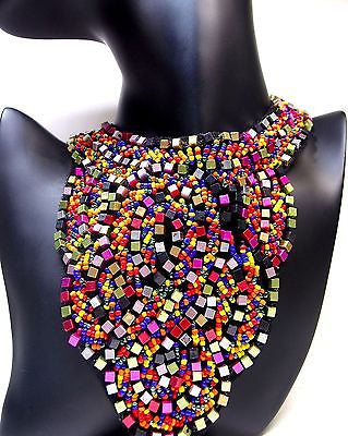 Neon Beaded Tribal Necklaces