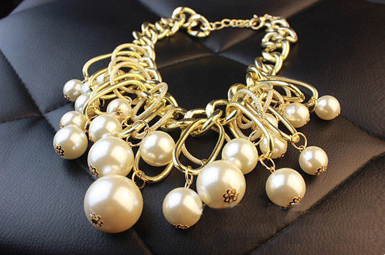 Pearl Gold Tone Statement Necklace