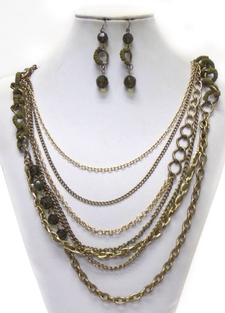 Multi chain Bead and Metal Necklace