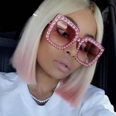 Rhinestone Clear Oversized Sunglasses
