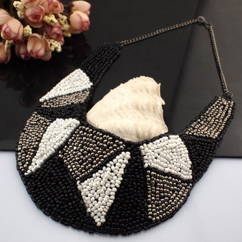 Black White and Grey Beaded Necklace