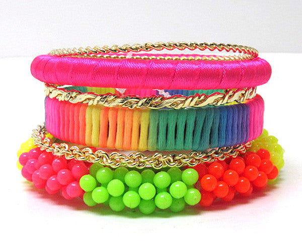 Neon Multicolored Bracelet Set