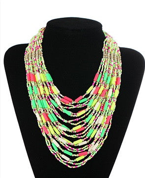 Neon Multicolor Beaded Necklace!