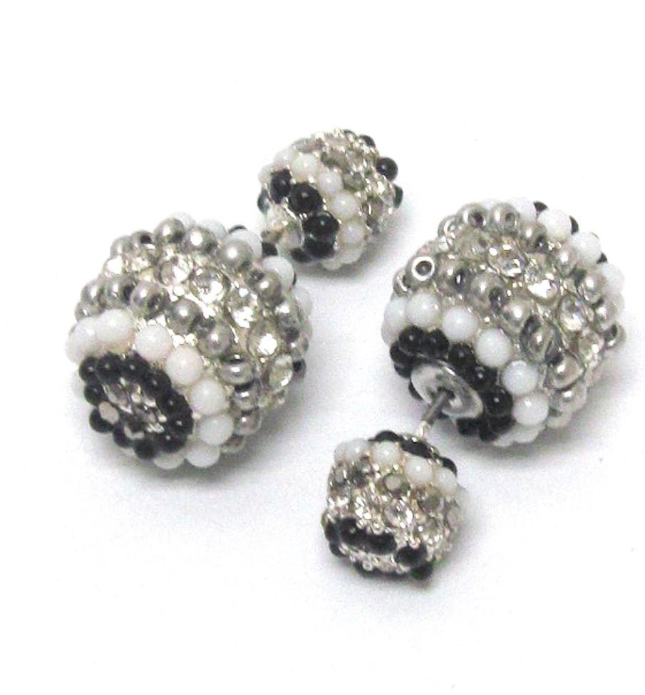 Double Sided Black and White Beaded Earrings