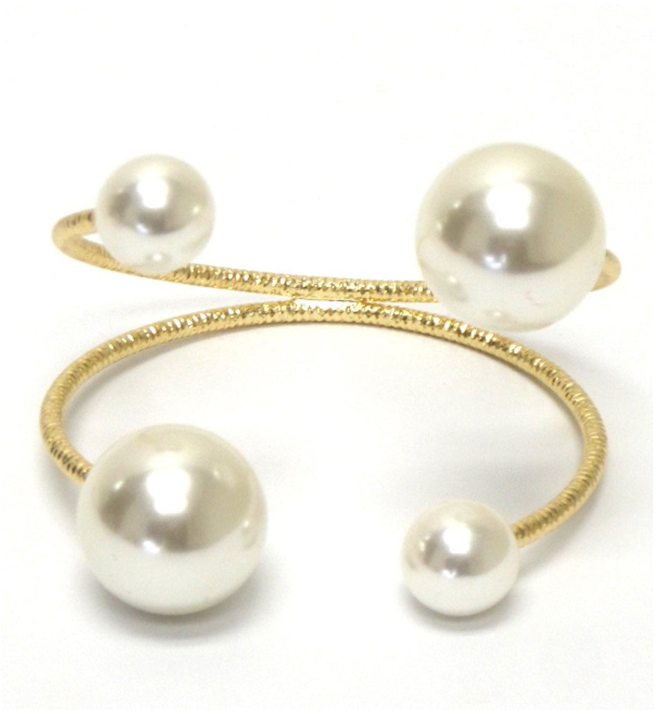 Double Layer Pearl Cuff Bracelet