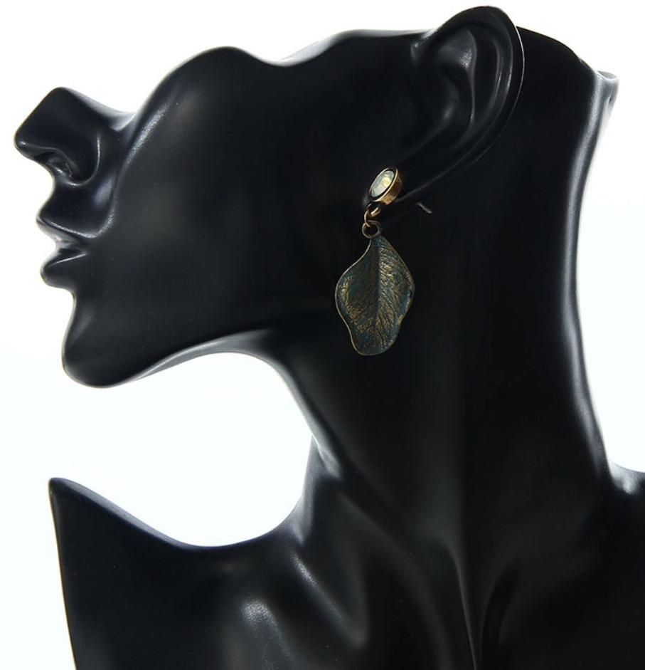 Bronze Leaf Drop Earrings