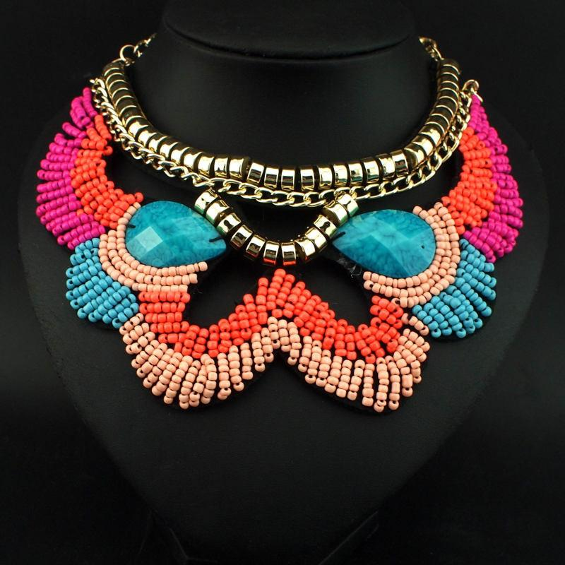 Geometric Beaded Multicolor Necklace