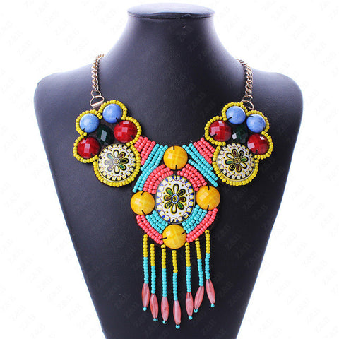Gold Colored Tribal Statement Necklace