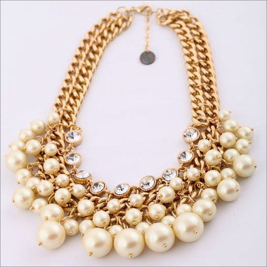 Pearl and Rhinestone Statement Necklace