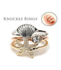 Sea Life Shell Knuckle Rings