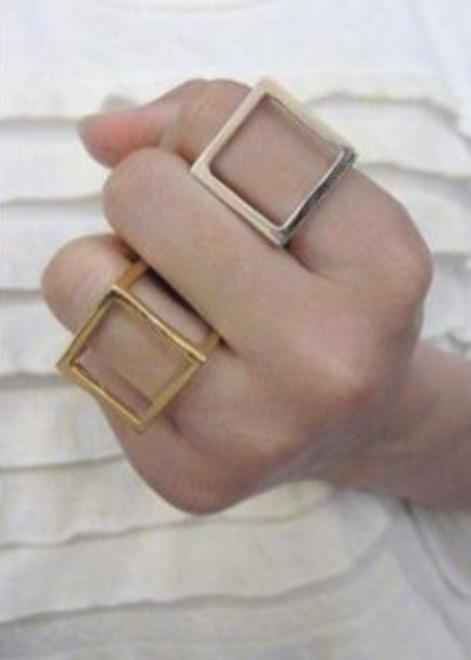 Gold Colored Cubed Ring
