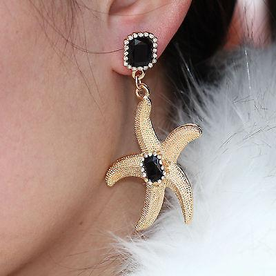 Gold Plated Starfish Dangle Earrings