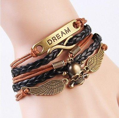 Dream Skull Wings Charm Bracelet