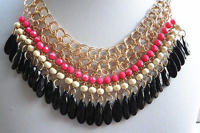 Pink and Black Beaded Necklace