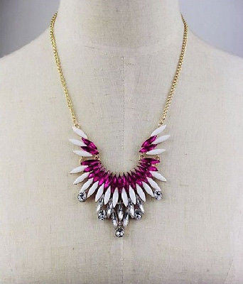 Rose Crystal Leaf Necklace