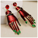 Red and Green Fingernail Earrings