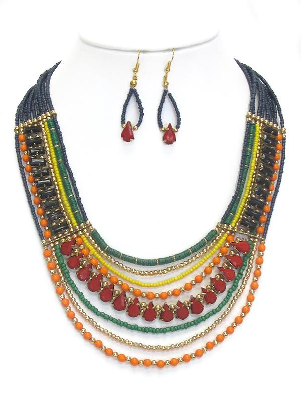 Multistrand Beaded Bright Necklace