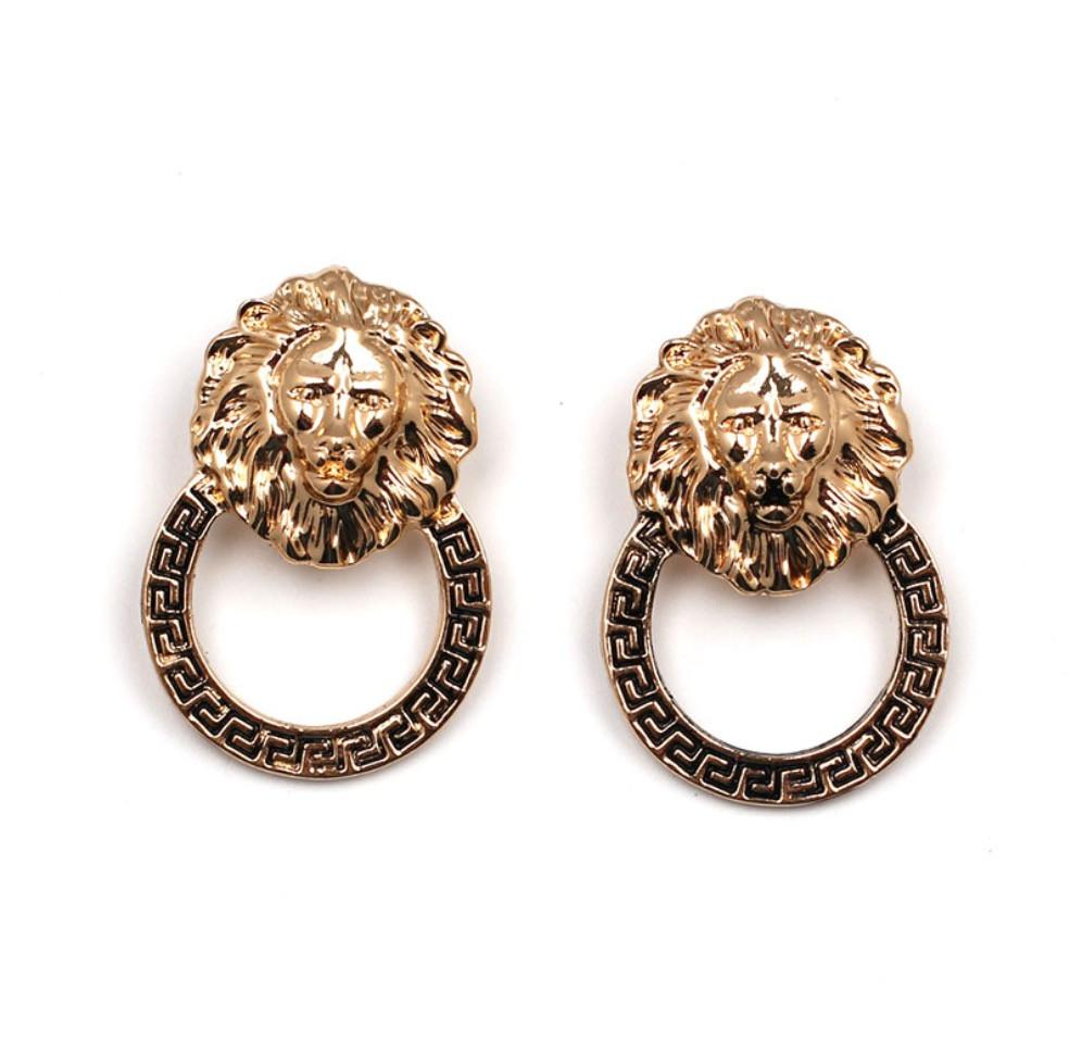 Gold Tone Lion Hoop Earrings