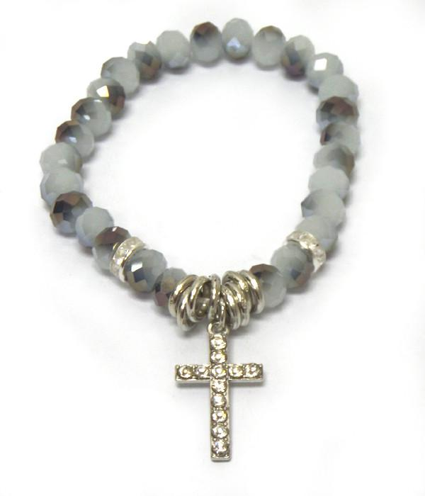 Glass Black Beads Cross Bracelet