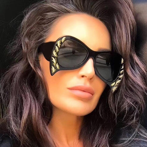 Gold Studded Black Sunglasses