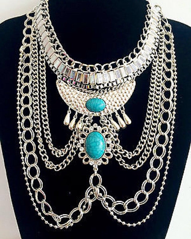 Silver with Turquoise Statement Necklace