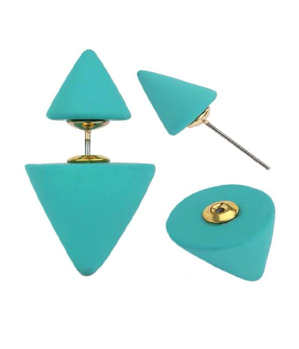 Aqua Cone Double Side Earrings