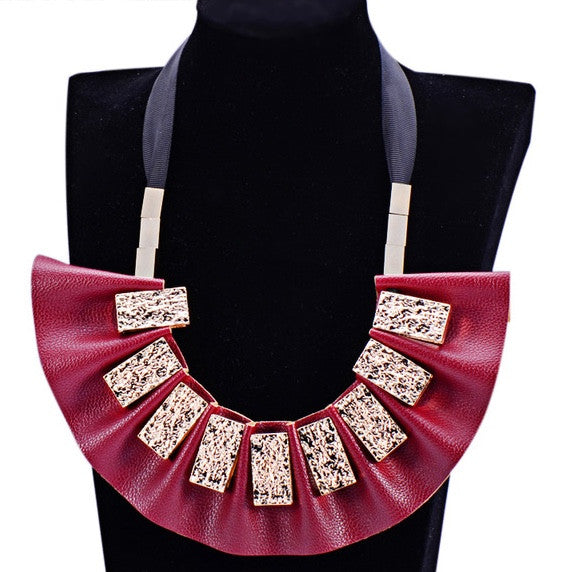 Leather Ribbon Tie Tribal Statement Necklace
