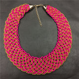 Pink Beaded Collar Necklace