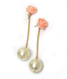 Pink Flower Pearl Drop Earrings
