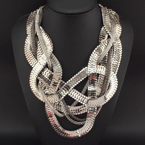 Abstract Silver Tone Necklace