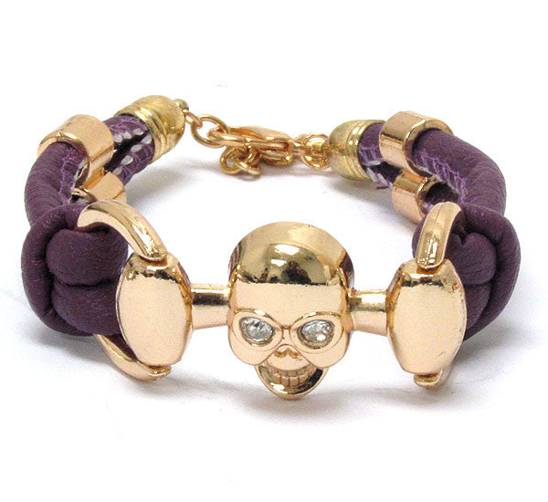 Skull Gold Tone and Purple Bracelet