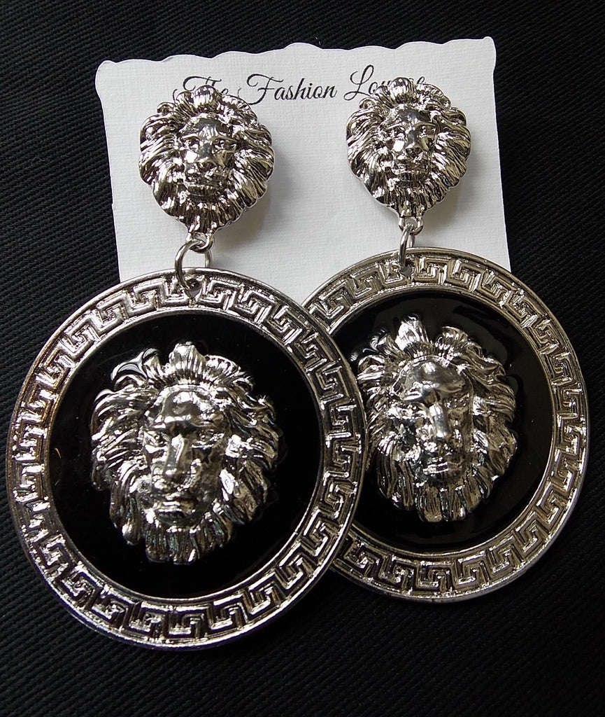 Large Round Lion Earrings
