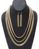 Three Layer Snake Chain Layer Necklace Set