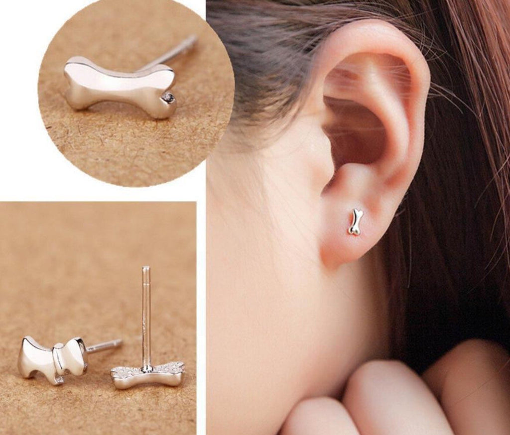 Dog and Bone Stud Earrings