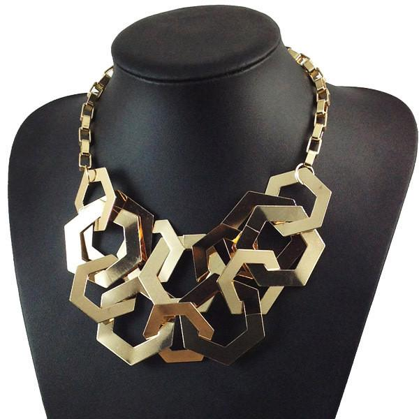 Geometric Gold Tone Necklace