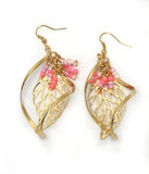 Seed Pink and White Bead Leaf Earrings