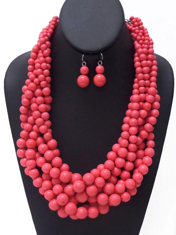 Beaded Pink Cluster Necklace Set