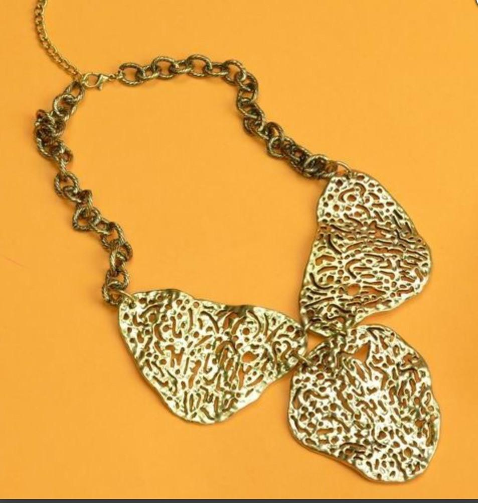 Gold Carved Abstract Necklace