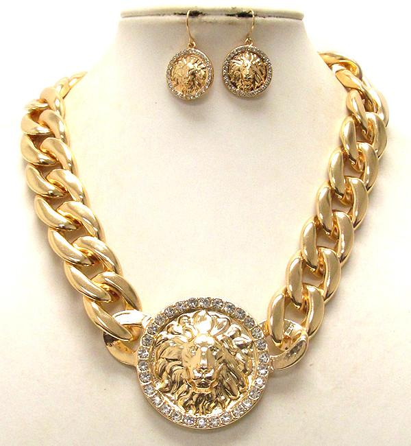 Chunky Chain Link Lion Necklace Set