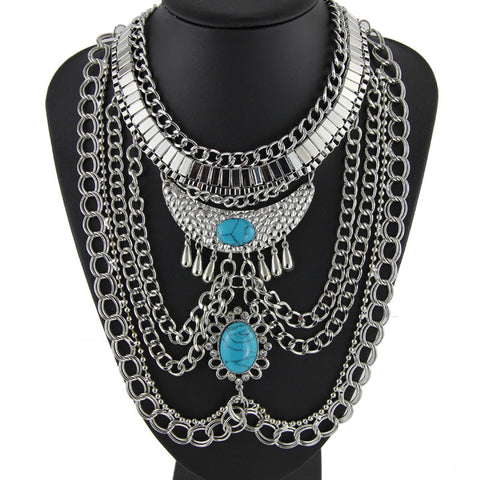 Multi Chain Silver Tone Stone Necklace