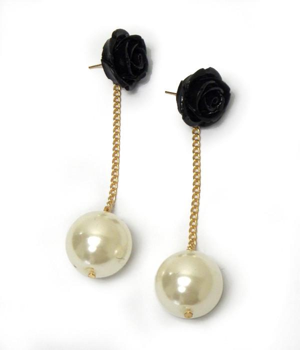 Black Flower Pearl Drop Earrings