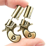 Gold Tone Gun Double Side Earrings